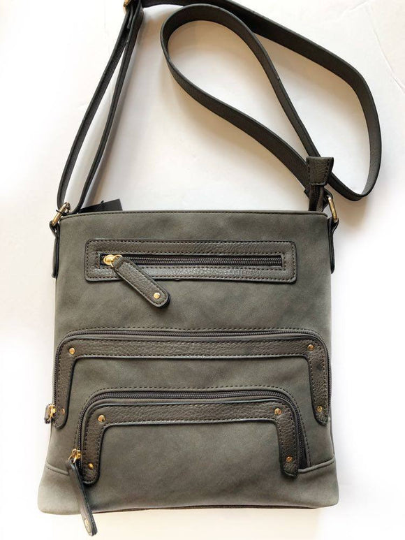 Crossbody and Large Pockets Bag (Grey Smoke) by La Diva