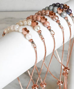 Cinch Bracelets Rose Gold Plated,  Czech Glass Pearl, BEL Jewellery