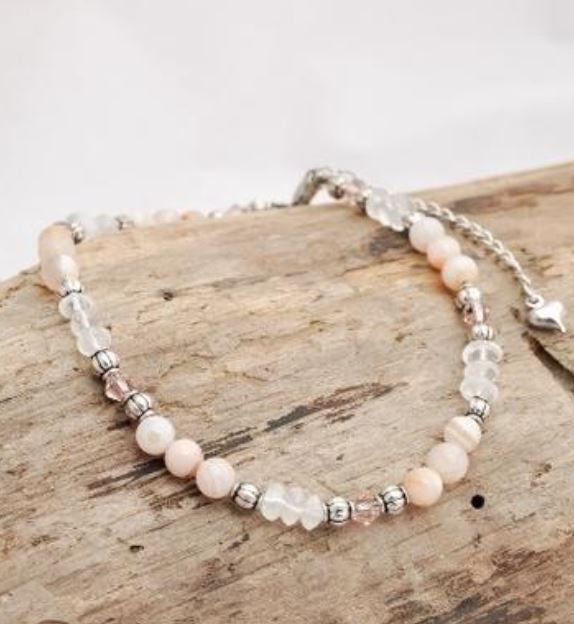 Anklet - BEL - Peach Aventurine and Quartz Gemstone