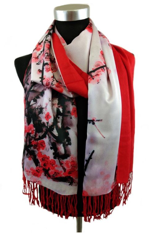 Scarf - Cherry Blossom Red