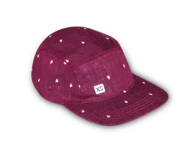 5-Panel, Linen Mini Drop (Maroon) Hat by XS