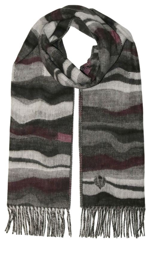 Scarf Graphic Waves Mid Grey - VFraas