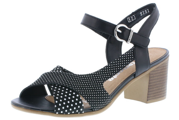Dress Sandal Black and White by Remonte