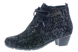 Ankle Boot ( Black floral)- Remonte