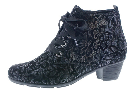 Heeled Ankle Boot ( Black floral)- Remonte