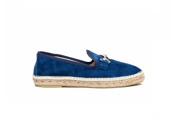 Suede Espadrille Loafer (Cobalt) by Atelier