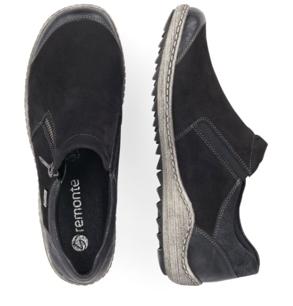 Slip-on Shoe with Zipper (Black) by Remonte