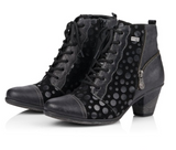Ankle Boot (Black with Black Shimmer Polka Dots) by Remonte