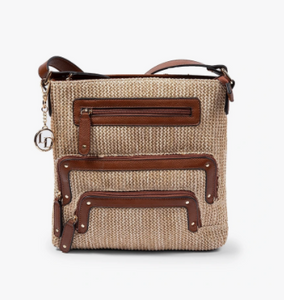 Crossbody and Large Pockets Bag (Raffia) by La Diva