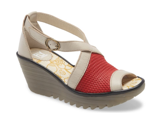 Yace (Red/Concrete/Black) Wedge Sandal by Fly