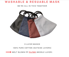 Load image into Gallery viewer, Machine Washable Cloth Mask with Filter