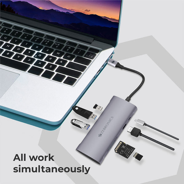 Zeb TA1500UCVP – 7 in 1 USB Type C Multiport Adapter with USB, HDMI, SD, Micro SD, Type C PD