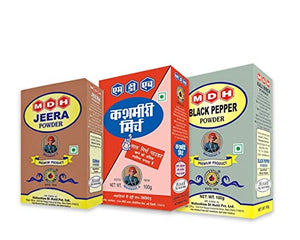 MDH Jeera Powder + Kashmiri Mirch + Black Pepper 100GM x 3 = 300G