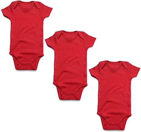 3 Pc's RED BABY ROMPER BODYSUIT UNISEX PURE COTTON HIGH QUALITY