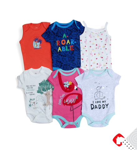 6 PCS Assorted Half Sleeve Baby Romper