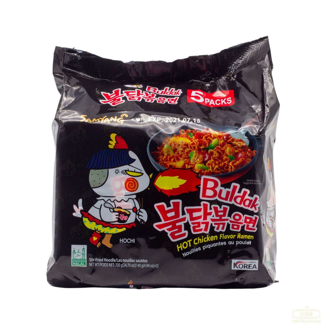 SAMYANG Stir-Fried Noodle HOT Chicken Flavor Ramen 辣面(4.94 OZ x5 BAGS/包)