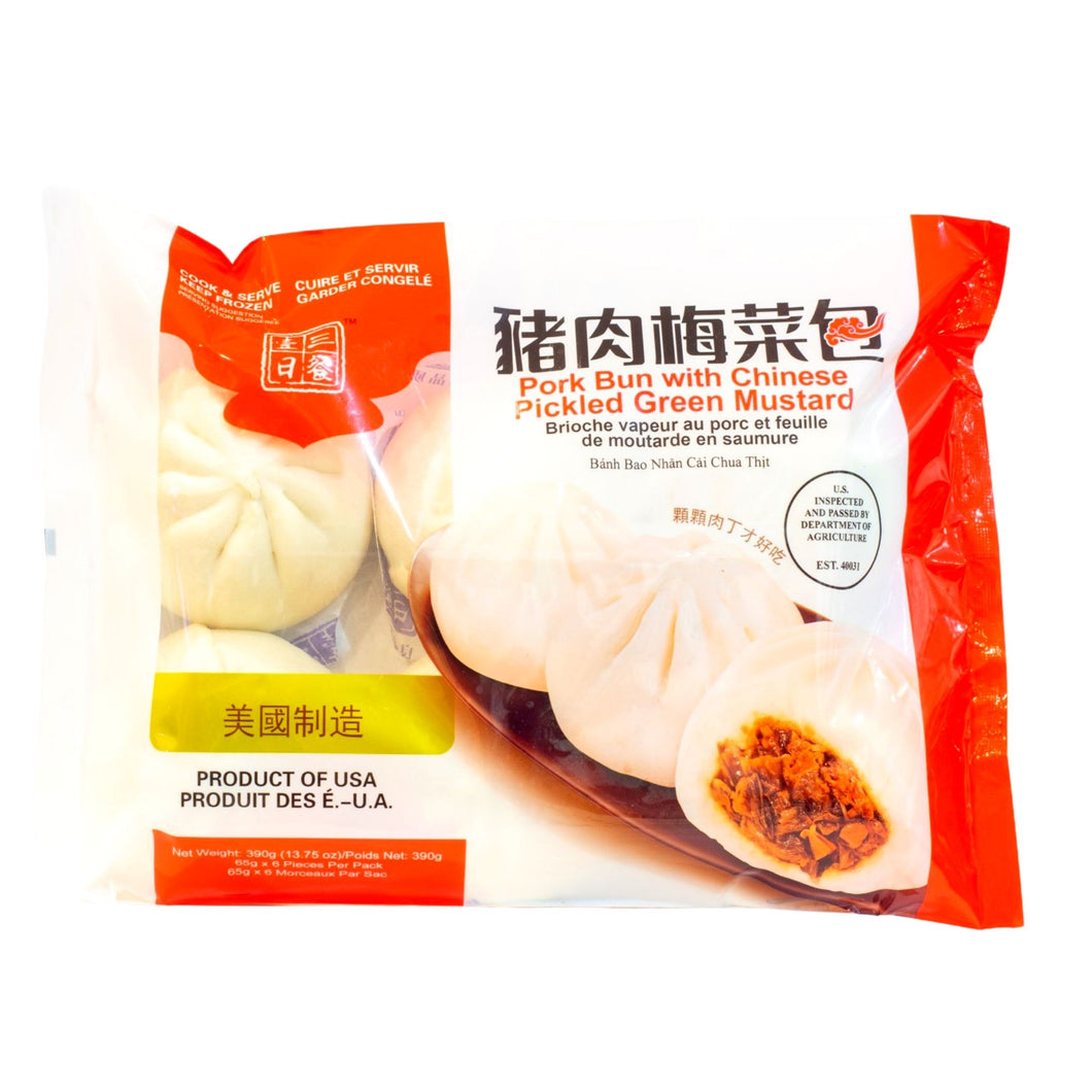 Pork Bun with Chinese Pickled Green Mustard B-19 猪肉梅菜包 (6 PC)