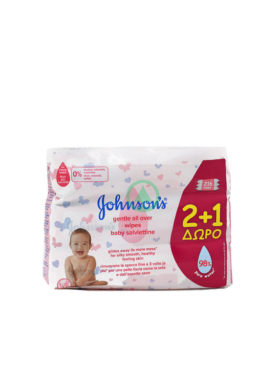 Johnson'S Baby Wipes Gentle All Over X72 2+1 Free