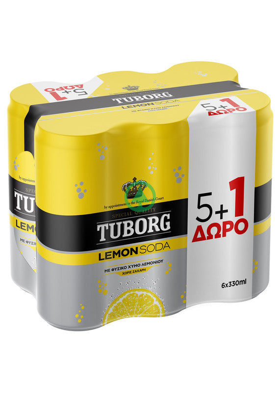 Tuborg Lemon Soda Can 33cl 5+1 Free