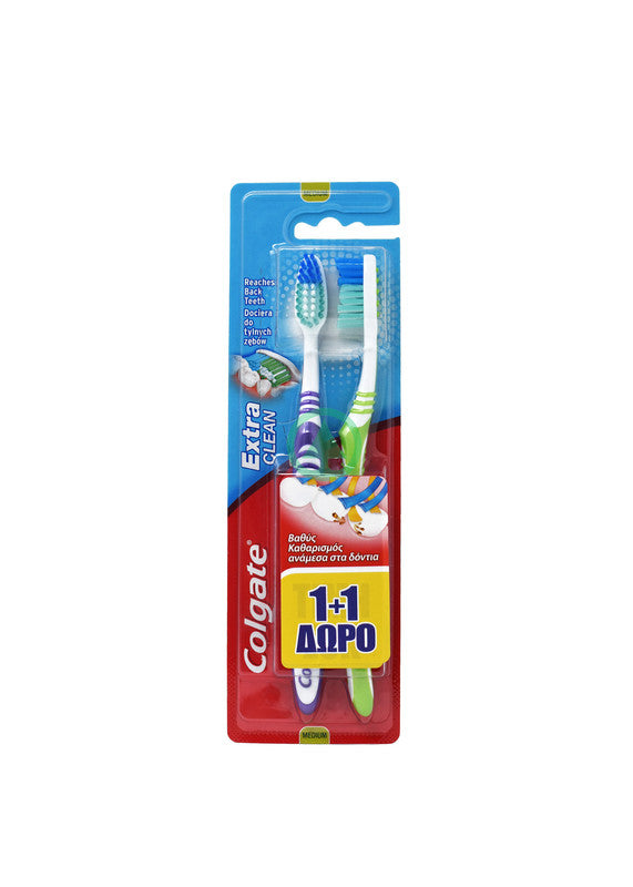 Colgate Toothbrush Extra Clean Twin 1+1 Free