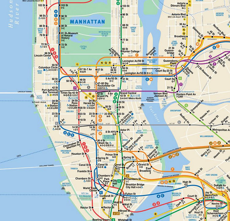 NYC Subway Map 13x13 AAF