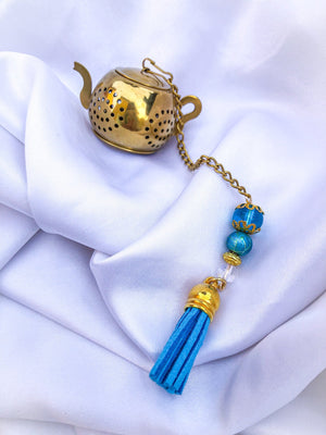 Blue & Gold Tassle Loose Leaf Infuser - Handmade Custom Infuser - valentines day gift for girlfriend valentines day gift for boyfriend