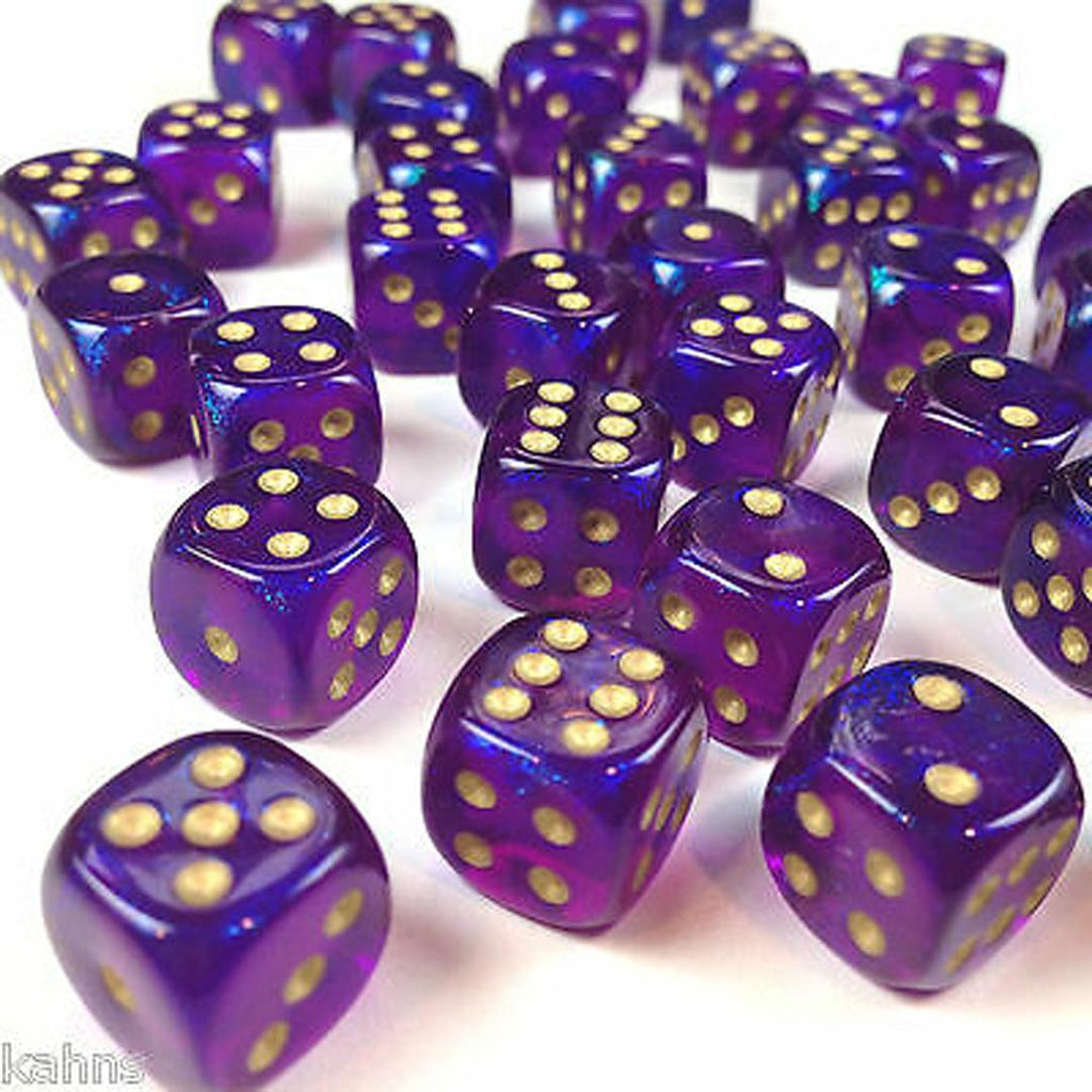 Chessex 12mm Dice Block: Borealis Royal Purple w/ Yellow (36)