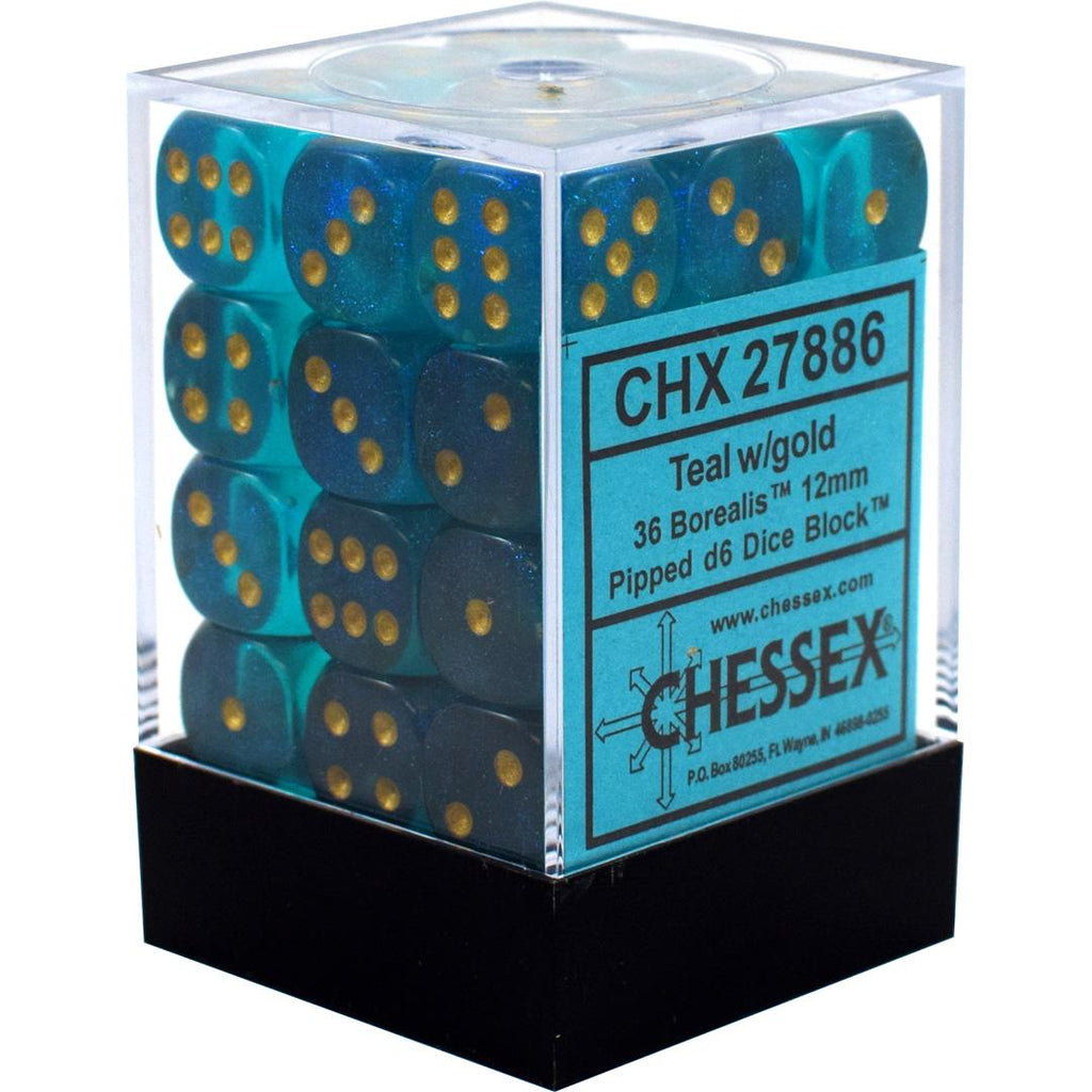 Chessex 12mm Dice Block: Borealis Teal w/ Gold (36)