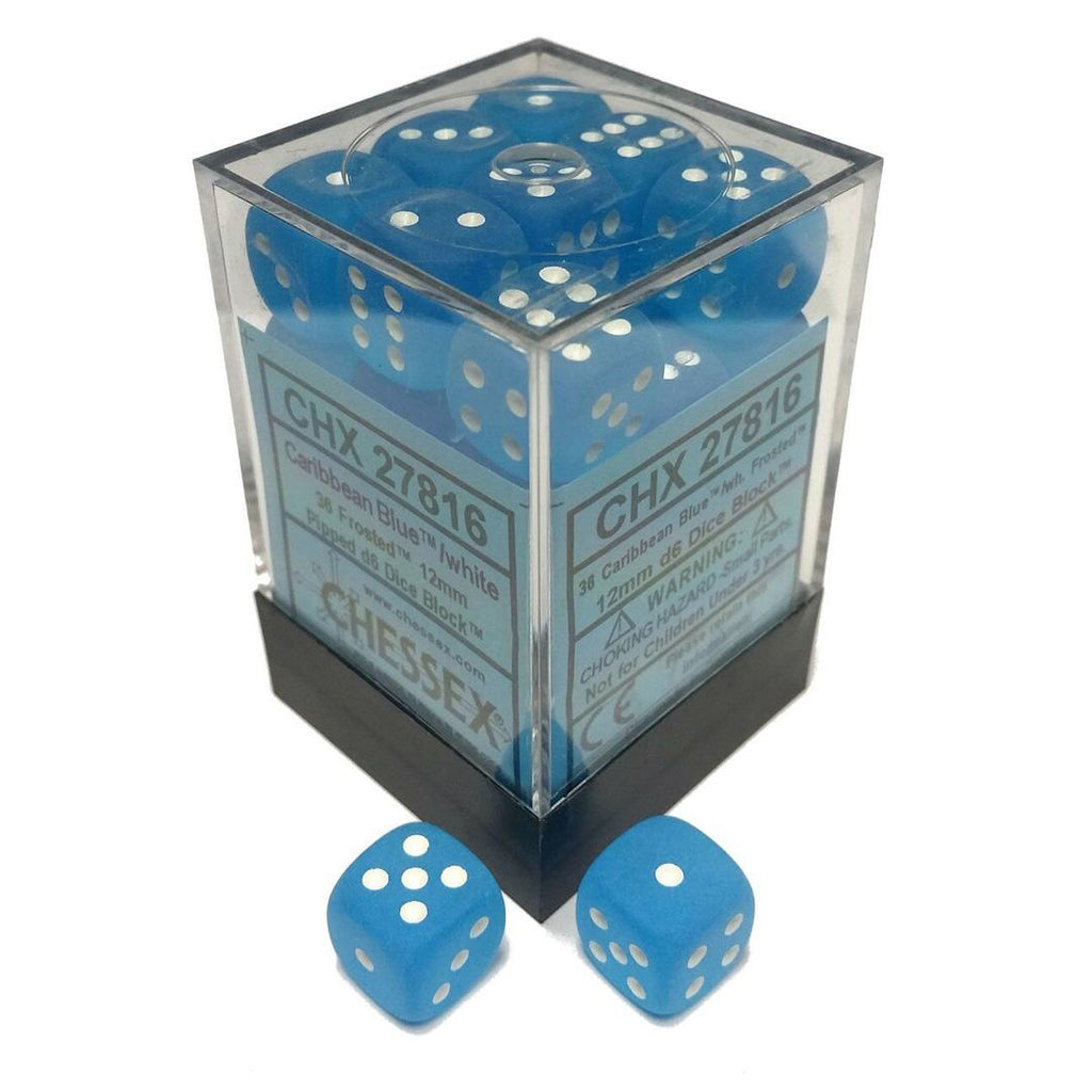 Chessex 12mm Dice Block: Frosted Caribbean Blue w/ White (36)