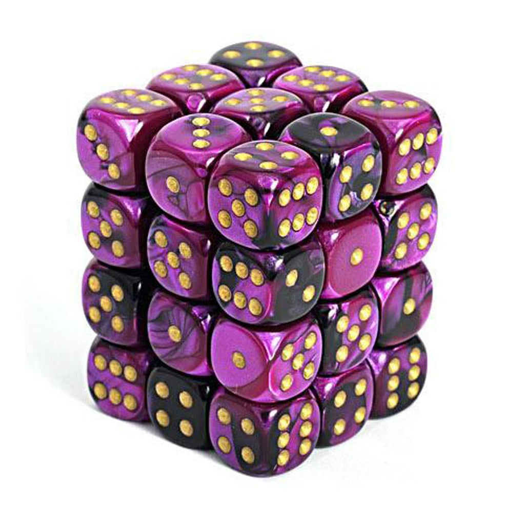 Chessex 12mm Dice Block: Gemini Black-Purple w/ Gold (36)