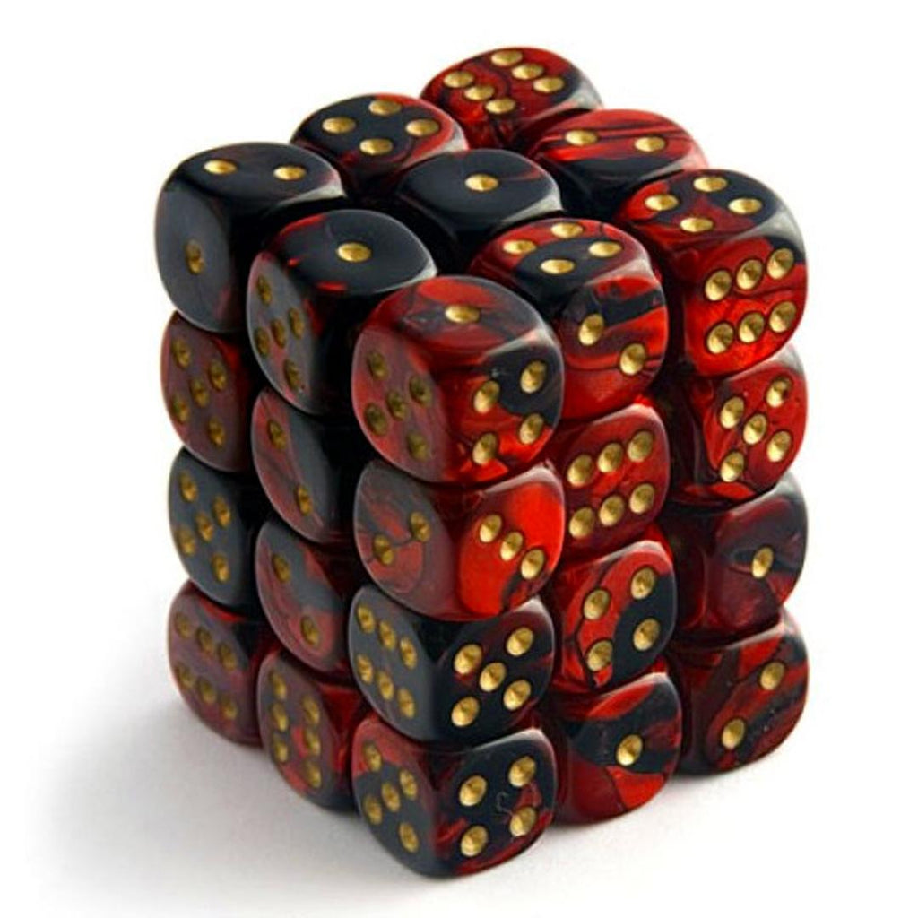 Chessex 12mm Dice Block: Gemini Black-Red w/ Gold (36)