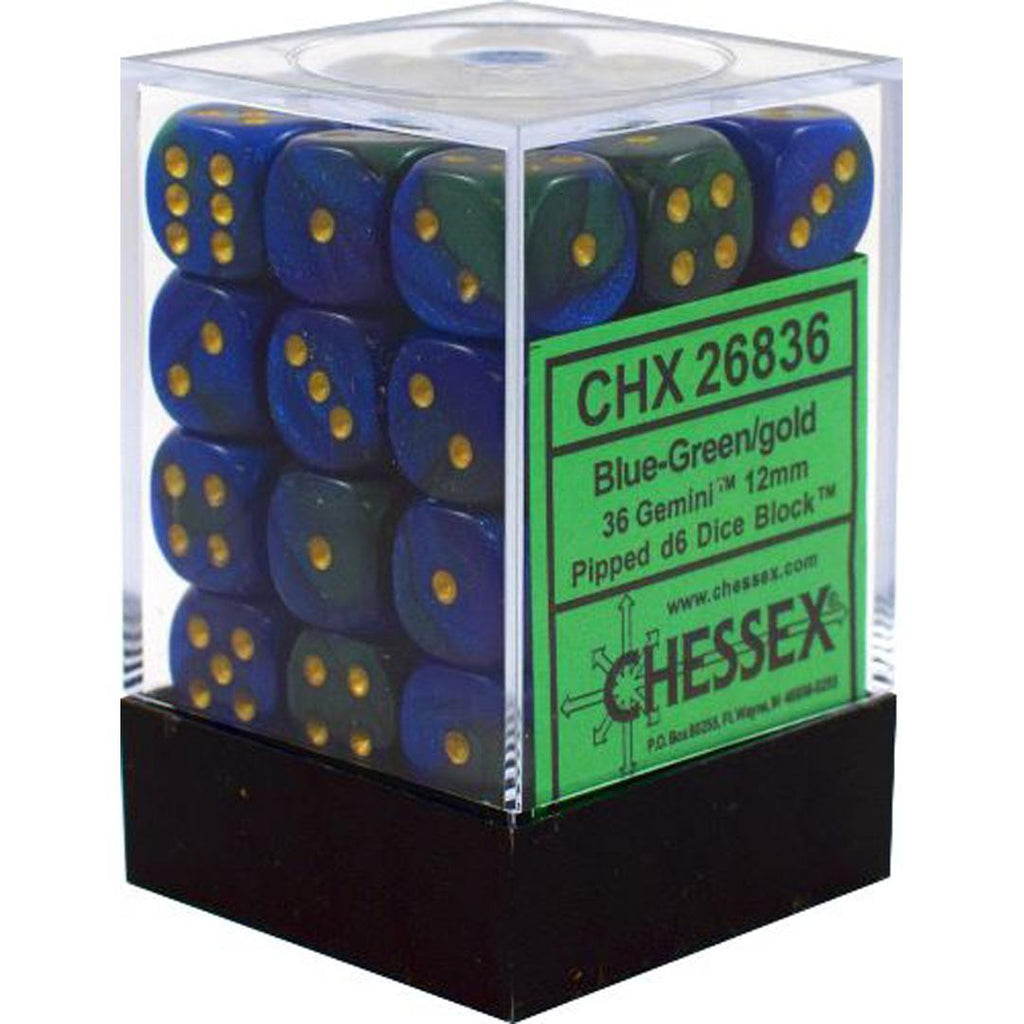 Chessex 12mm Dice Block: Gemini Blue-Green w/ Gold (36)