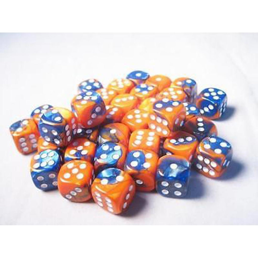 Chessex 12mm Dice Block: Gemini Blue-Orange w/ White (36)
