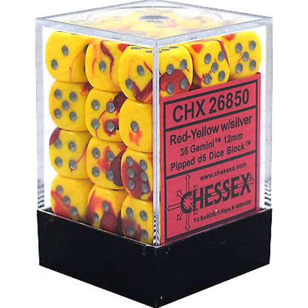 Chessex 12mm Dice Block: Gemini Red-Yellow w/ Silver (36)