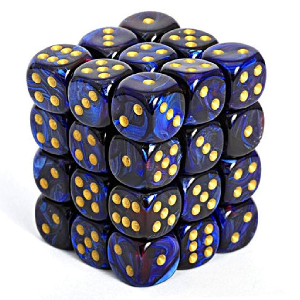 Chessex 12mm Dice Block: Scarab Royal Blue w/ Gold (36)