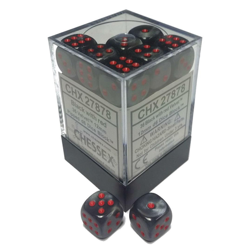 Chessex 12mm Dice Block: Velvet Black w/ Red (36)