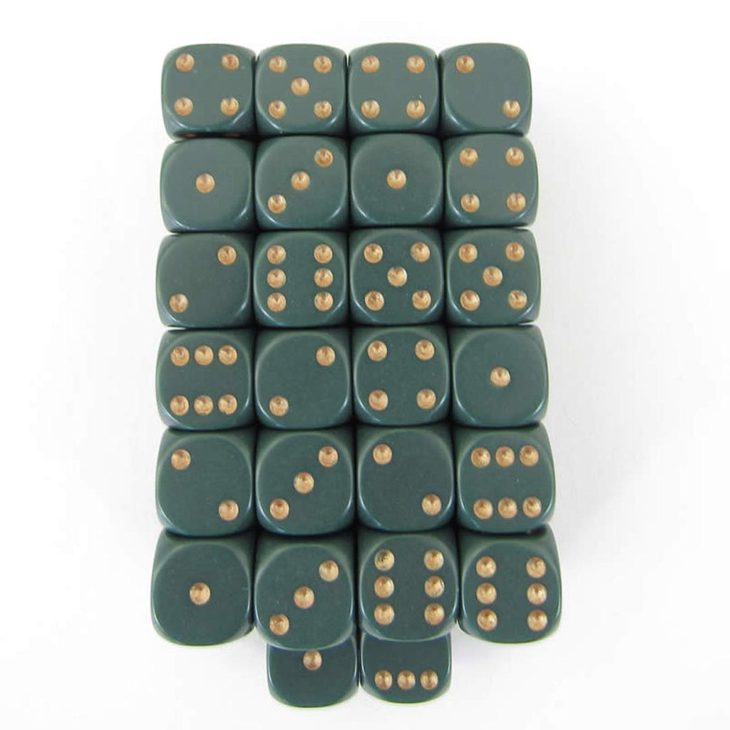 Chessex 12mm d6 Dice Set: Dusty Green w/ Gold (36)