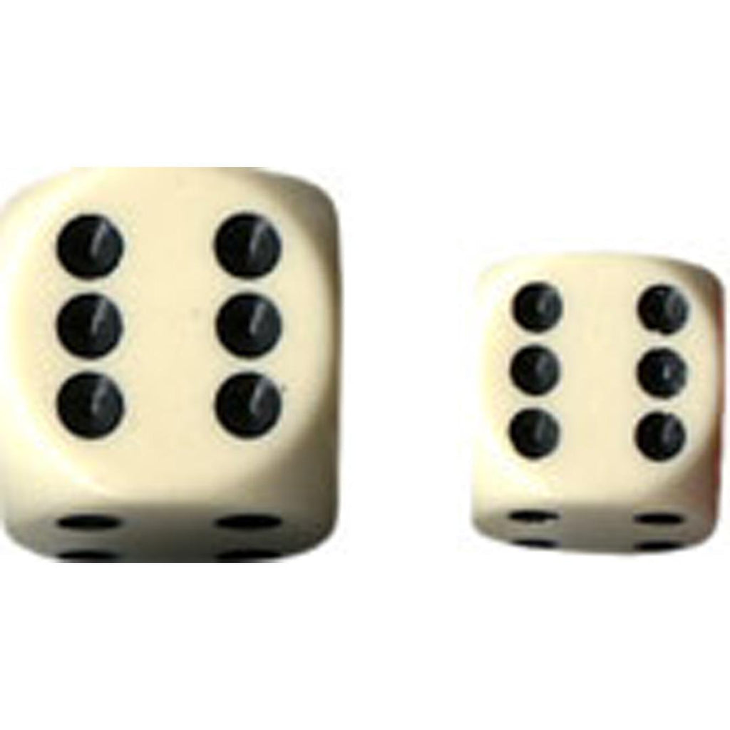 Chessex 12mm d6 Dice Set: Ivory w/Black (36)