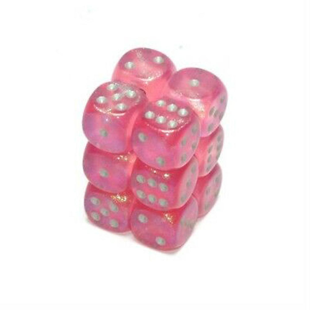 Chessex 16mm Dice Block: Borealis Pink w/ Silver (12)