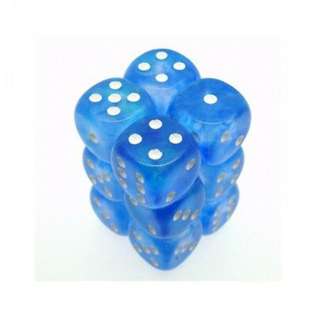 Chessex 16mm Dice Block: Borealis Sky Blue w/ White (12)