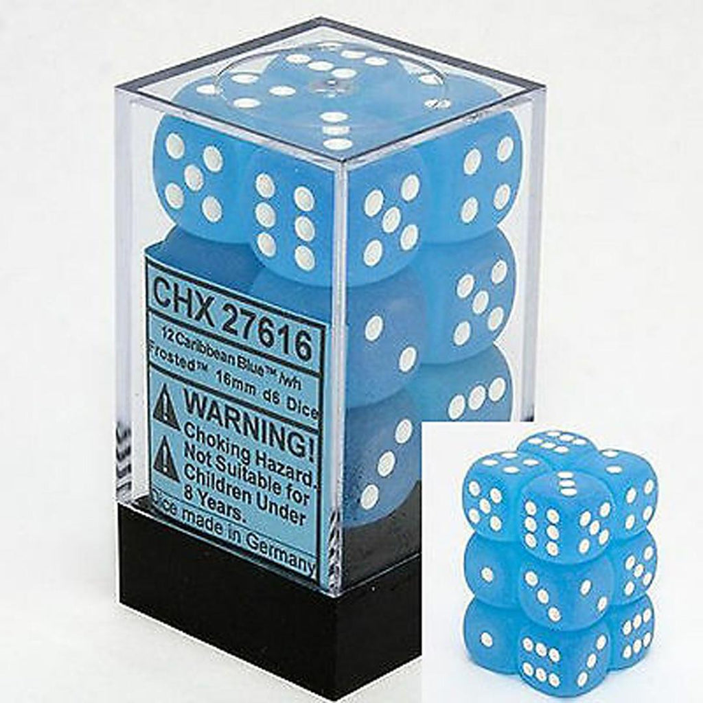 Chessex 16mm Dice Block: Frosted Carribean Blue w/ White (12)