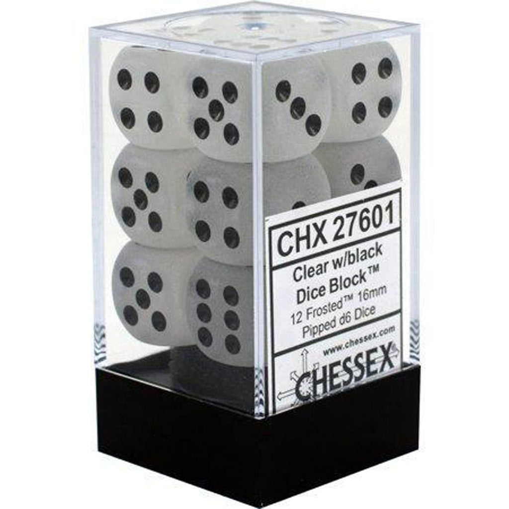 Chessex 16mm Dice Block: Frosted Clear w/ Black (12)