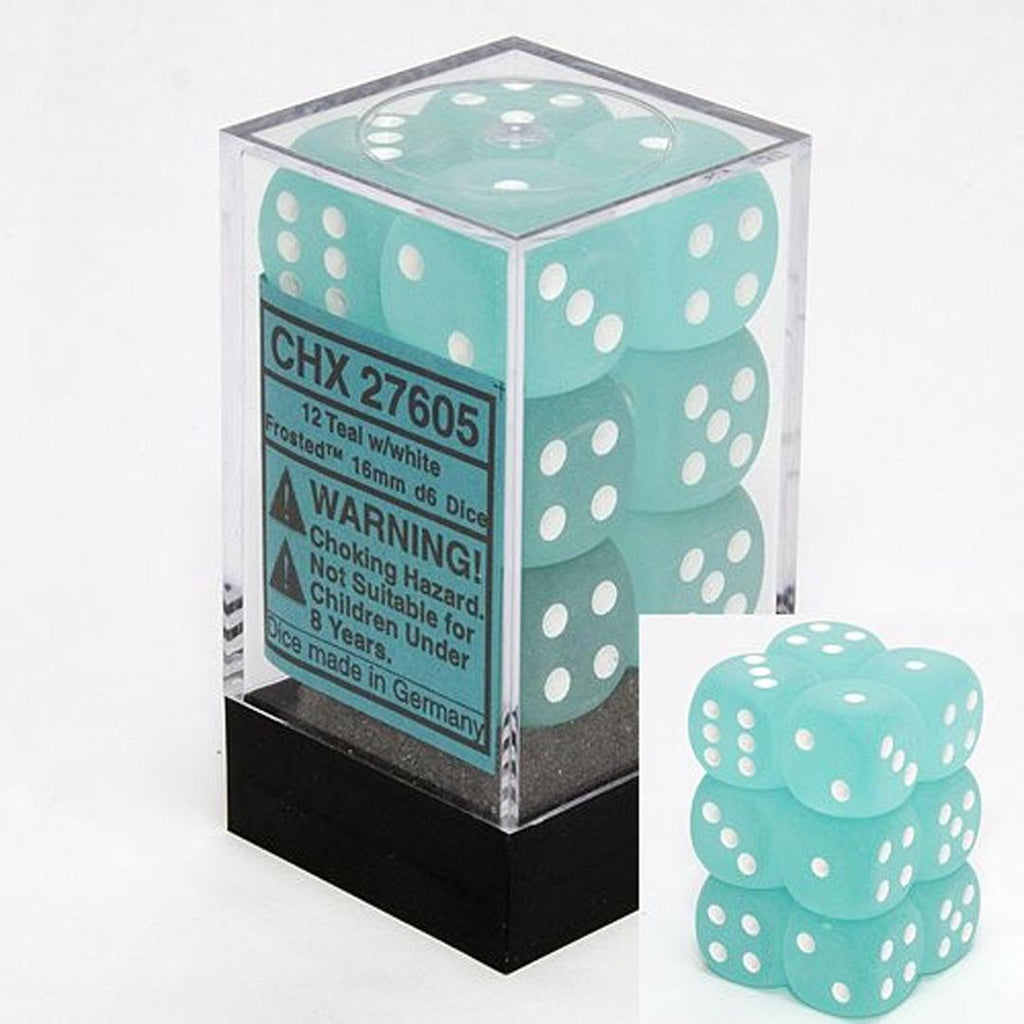 Chessex 16mm Dice Block: Frosted Teal w/ White (12)