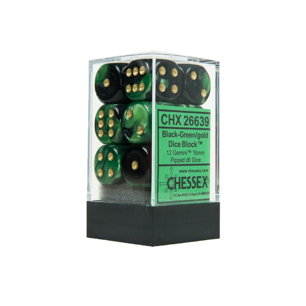 Chessex 16mm Dice Block: Gemini Black-Green w/ Gold (12)