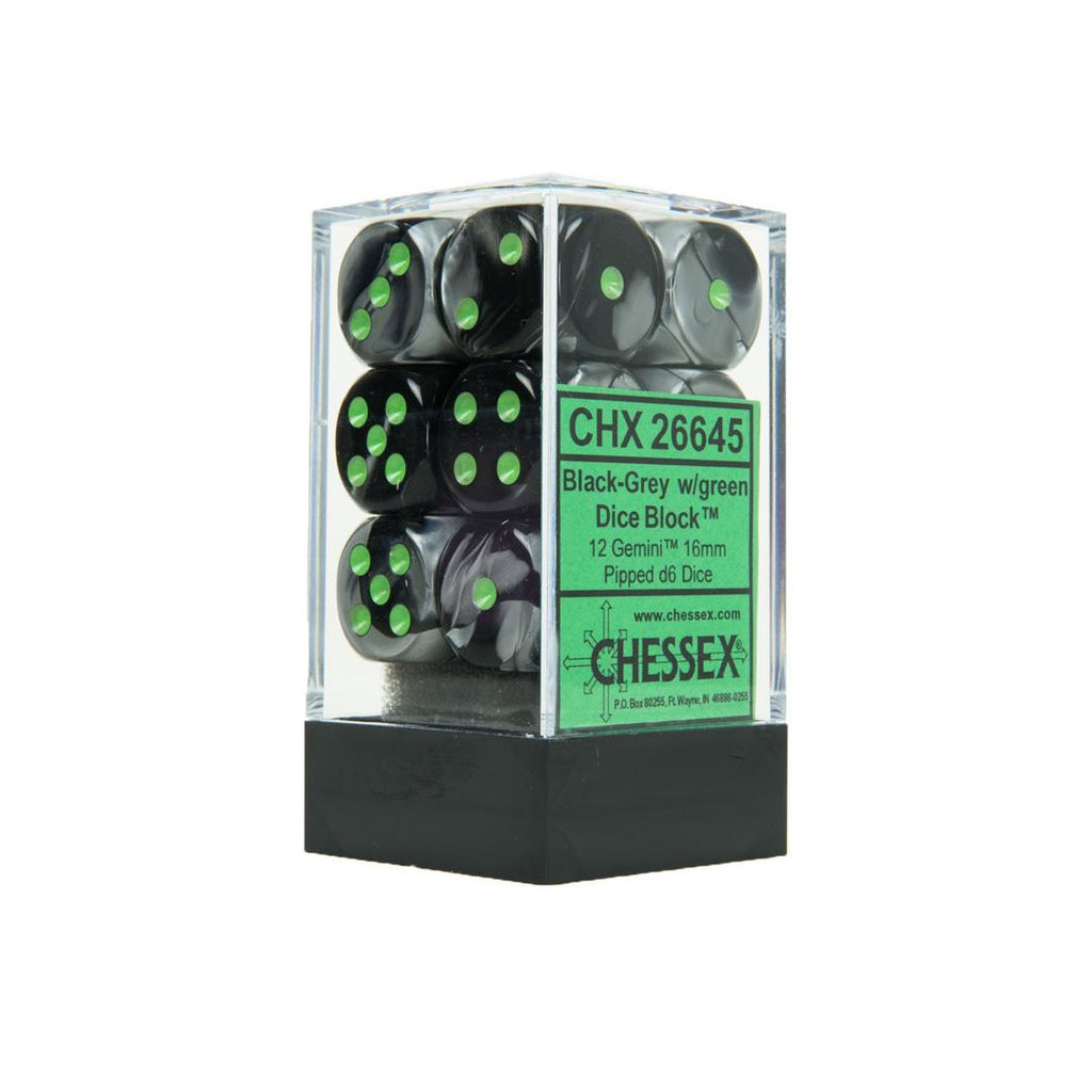 Chessex 16mm Dice Block: Gemini Black-Grey w/ Green (12)