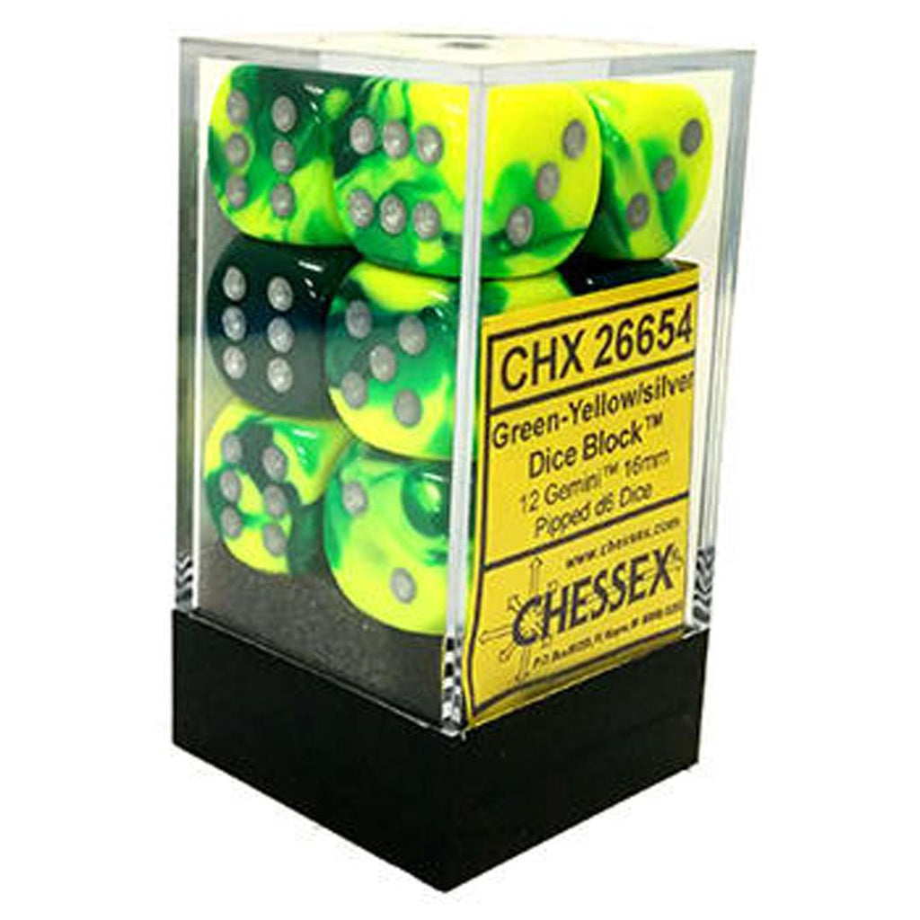 Chessex 16mm Dice Block: Gemini Green-Yellow w/ Silver (12)