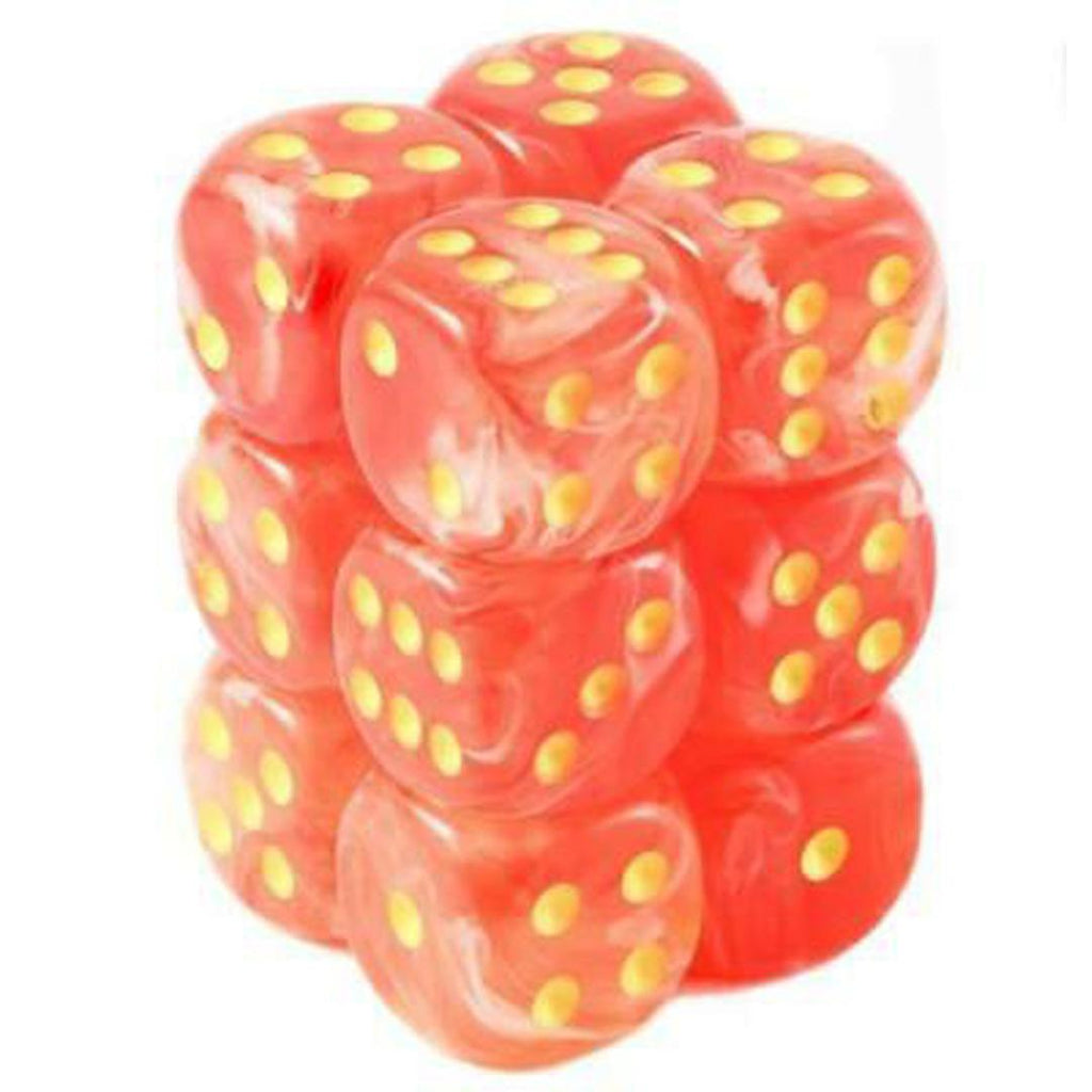 Chessex 16mm Dice Block: Ghostly Glow Orange w/ Yellow (12)