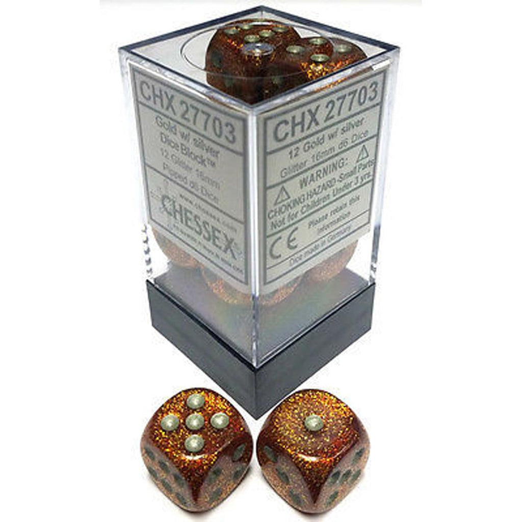 Chessex 16mm Dice Block: Glitter Gold w/ Silver (12)