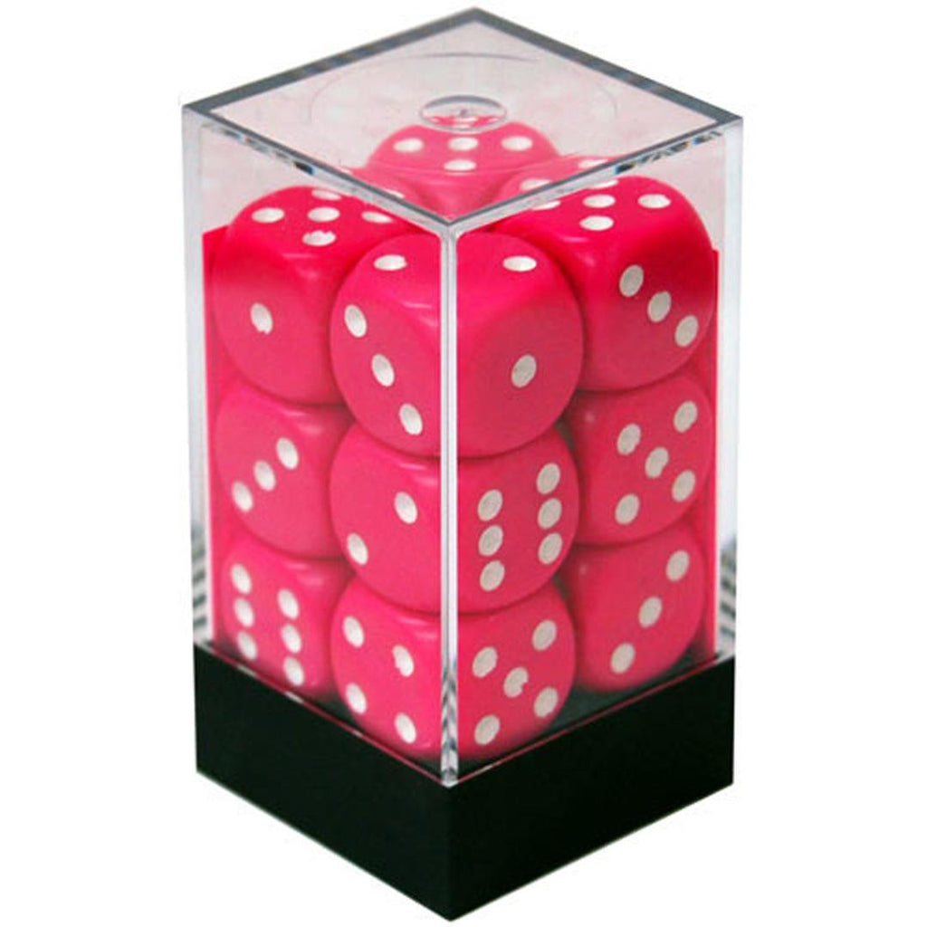 Chessex 16mm Dice Block: Opaque Pink/White (12)