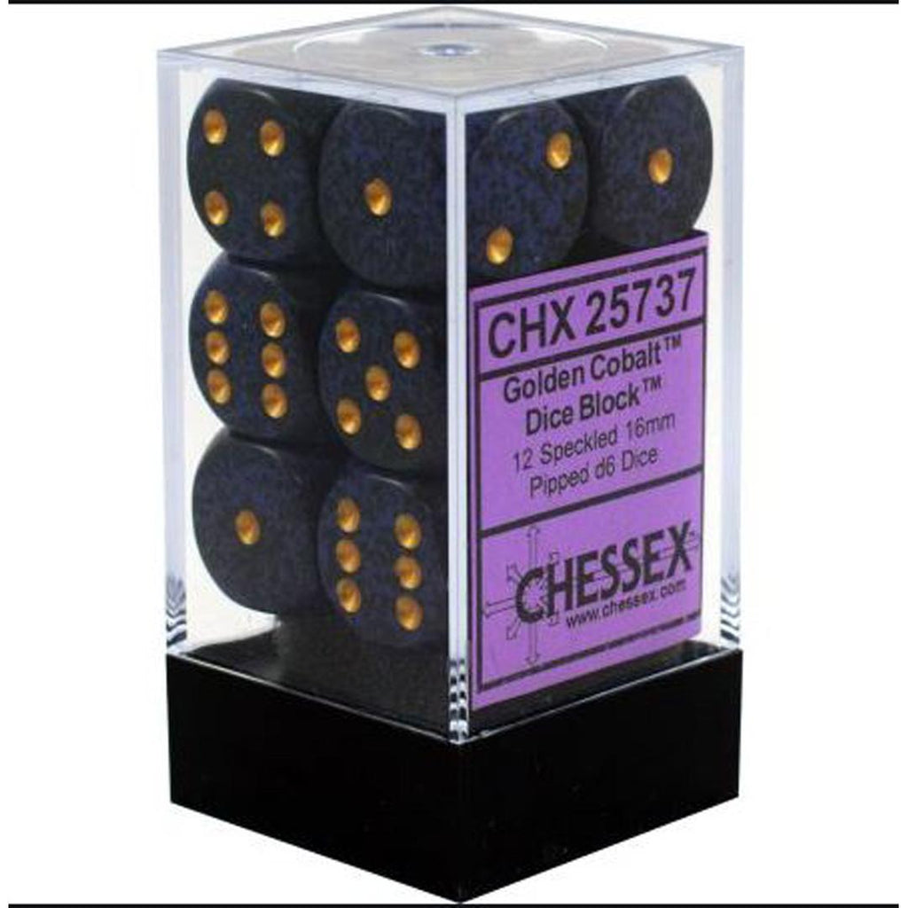 Chessex 16mm Dice Block: Speckled Golden Cobalt (12)